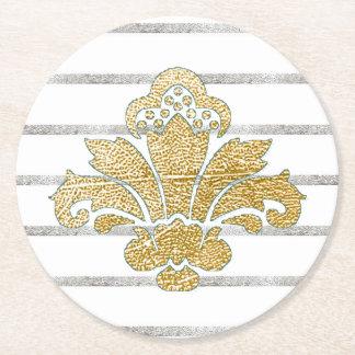Wedding Coaster Faux Gold/Silver Damask TEAL