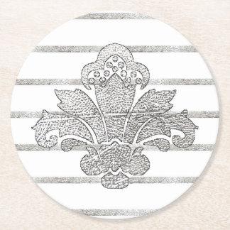 Wedding Coaster Faux Silver Damask BLACK