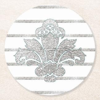 Wedding Coaster Faux Silver Damask TEAL