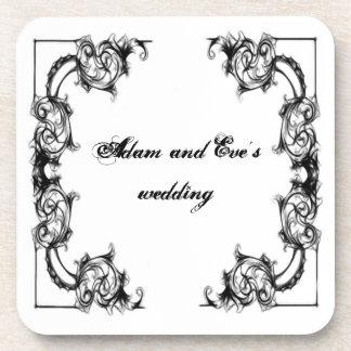 wedding coaster-VINTAGE FLORAL  WHITE DAMASK