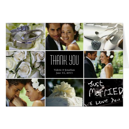 Wedding Collage Thank You Card - Black
