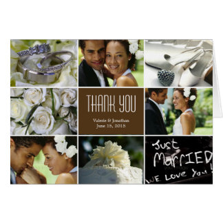 Wedding Collage Thank You Card - Brown