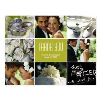 Wedding Collage Thank You Postcard - Chartreuse