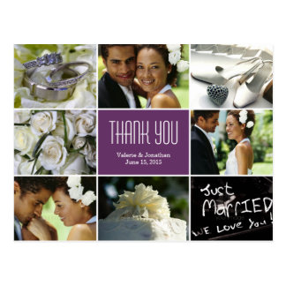 Wedding Collage Thank You Postcard - Purple