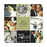Wedding Collage Wrapped Canvas - Custom Colour