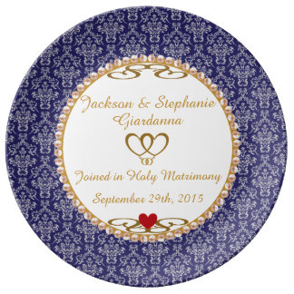 "Wedding Commemorative Gift 10.75"" Porcelain Plate"