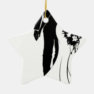 Wedding Concept Bride and Groom Silhouette Christmas Ornament