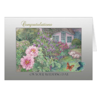Wedding Congratulations Butterfly & Garden Card