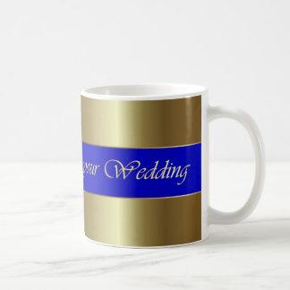 Wedding Congratulations Golden Blue Stripe Mug