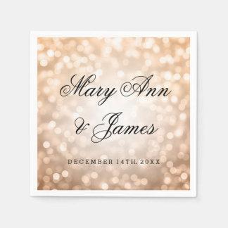 Wedding Copper Glitter Lights Paper Napkin