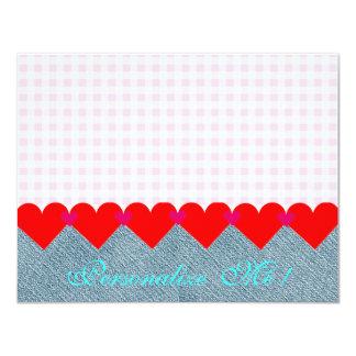 Wedding Country Bride Pink Modern Hearts Denim 11 Cm X 14 Cm Invitation Card