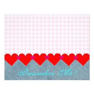 Wedding Country Bride Pink Modern Hearts Denim Personalized Invitations