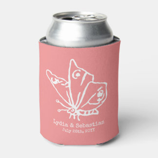 Wedding Couple Custom Names Butterfly | Coral Can Cooler