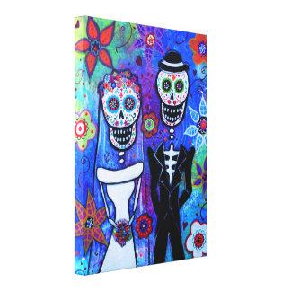 Wedding Couple Dia de los Muertos Canvas Prints