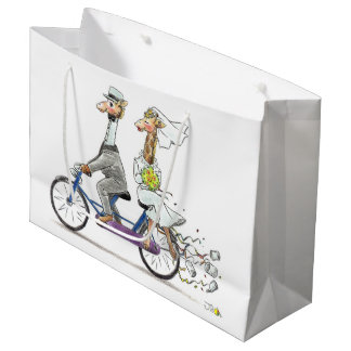 wedding couple giraffes large gift bag