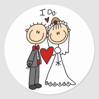 Wedding Couple I Do T-shirts and Gifts Round Stickers