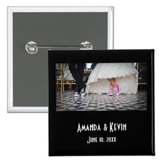 Wedding Couple in a Retro Style Fifties Diner 15 Cm Square Badge