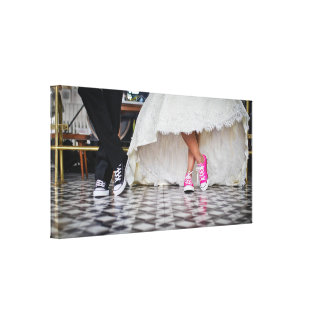 Wedding Couple in a Retro Style Fifties Diner Gallery Wrapped Canvas