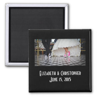 Wedding Couple in a Retro Style Fifties Diner Square Magnet