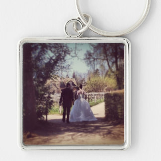 Wedding Couple in Versailles Silver-Colored Square Key Ring