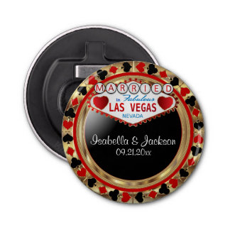 Wedding Couple Las Vegas Style - Red Bottle Opener