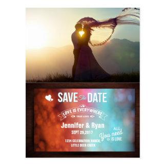 Wedding Couple Sunset Romance/Save The Date Postcard