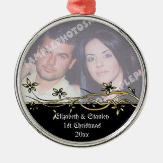 Wedding Couple's 1st Christmas photo Ornament