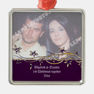 Wedding Couple's 1st Christmas photo Ornament