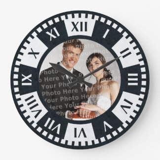 Wedding Couple's Photo Antique Style Clock