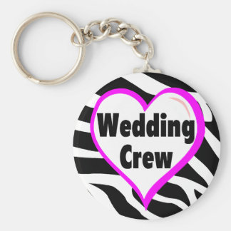 Wedding Crew Zebra Stripes Basic Round Button Key Ring