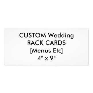 "Wedding Custom Menu & Program Cards 4"" x 9"" Rack Card Template"