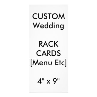 "Wedding Custom Menu & Program Cards 9""x4"" Vertical Full Colour Rack Card"