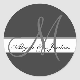Wedding Custom Monogram & Names Grey Seal