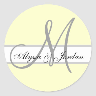 Wedding Custom Monogram & Names Ivory Grey Seal