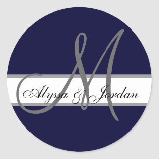 Wedding Custom Monogram & Names Navy & Grey Seal