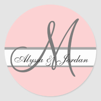 Wedding Custom Monogram & Names Pink & Grey Seal