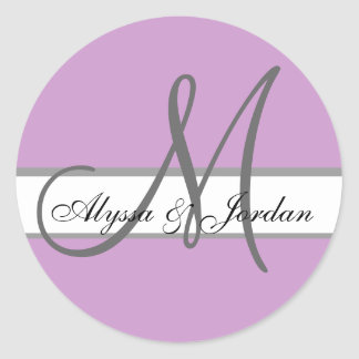 Wedding Custom Monogram & Names Purple & Grey Seal