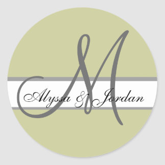 Wedding Custom Monogram & Names Taupe & Grey Seal
