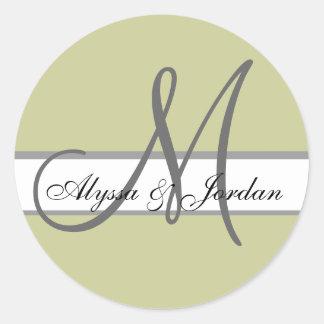Wedding Custom Monogram & Names Taupe & Grey Seal Round Sticker