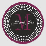 Wedding Custom Monogram & Names Wine Label Round Stickers