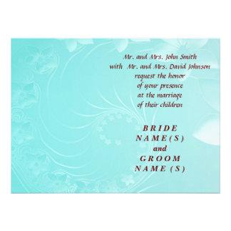 Wedding - Cyan Abstract Flowers Custom Announcement
