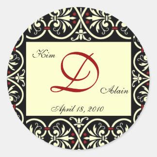 wedding D monogdram Round Sticker
