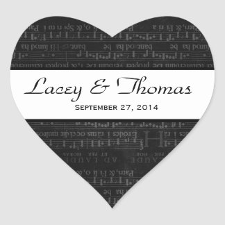 Wedding Damask Black and White Music Notes Heart Sticker