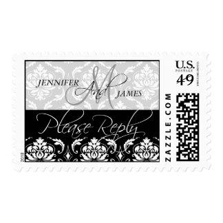 Wedding Damask RSVP Postage Stamps
