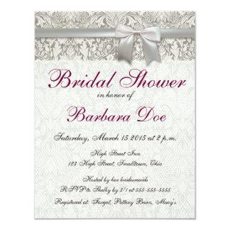 Wedding Damask Vintage White Wedding Old Lace 4.25x5.5 Paper Invitation Card