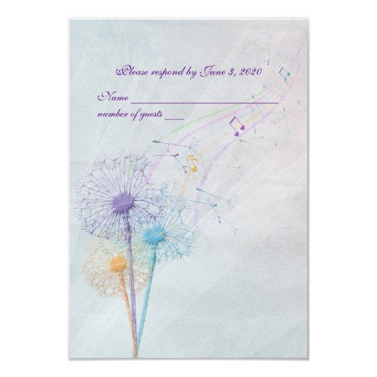 wedding dandelion and music RSVP Card
