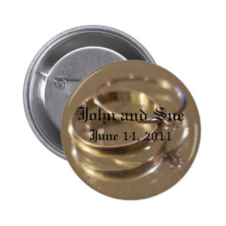 wedding date 6 cm round badge