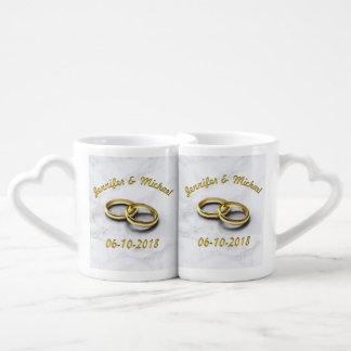 Wedding Date Bride & Groom Personalise Coffee Mug Set