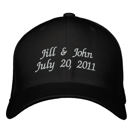 Wedding Date Couple Names Announcement Black Hat Embroidered Baseball Caps