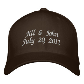 Wedding Date Couple Names Announcement Brown Hat Embroidered Hat